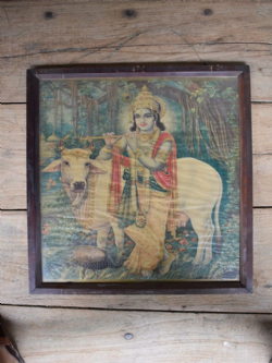 Vintage Print of Krishna with Nandi